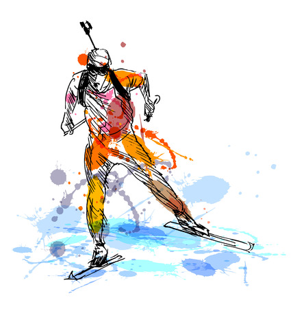 Colored hand sketch biathletes. Vector illustration