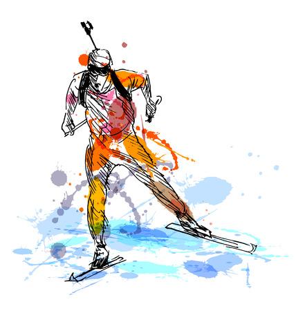 hombre disparando: Biathletes de colores de dibujo a mano. ilustración vectorial