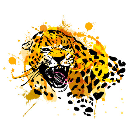 threatened: Colored hand sketch head roaring jaguar. Vector illustration Illustration