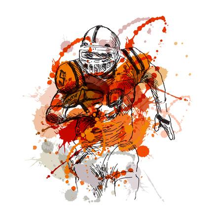 croquis de la main de couleur de joueur de football américain. Vector illustration