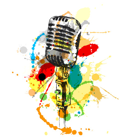 Colored hand sketch old microphone. Vector illustration