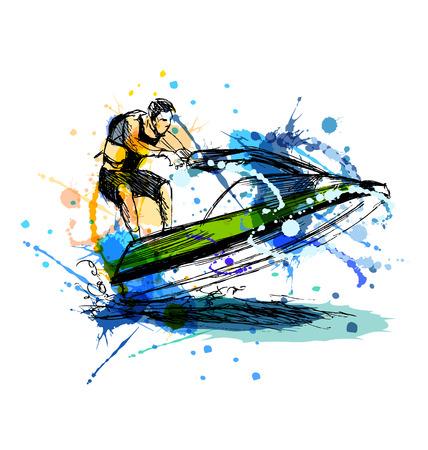 Colored coureur de croquis à la main sur un jet ski. Vector illustration