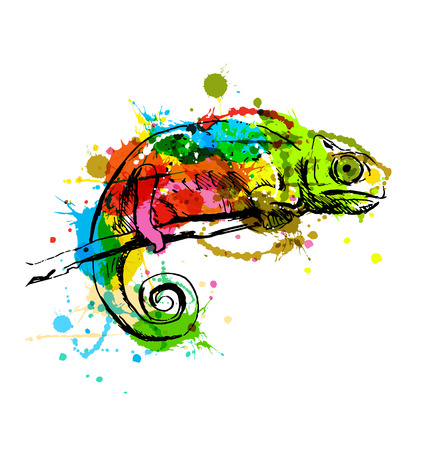 Colored hand sketch chameleon. Vector illustration