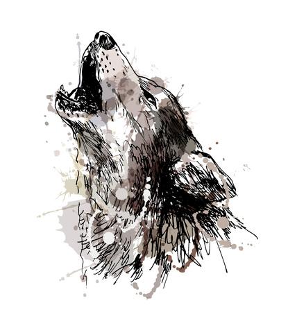 Gekleurde de hand tekening van een huilende wolf. vector illustratie Stock Illustratie
