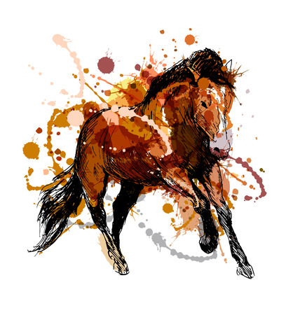 Colored hand sketch of a running horse. Vector illustration