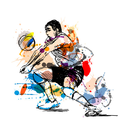 Colored hand sketch volleyball player. Vector illustration