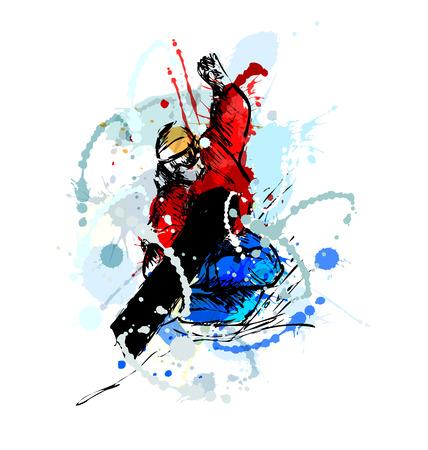Colored hand sketch snowboarder. Vector illustration