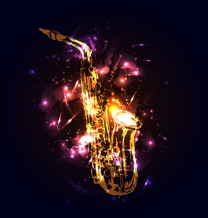melodies: Vector background with saxophone. Vector illustration