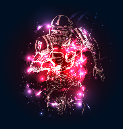 Vector background with sketch of american football player. Vector illustration