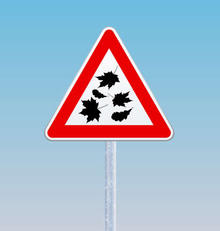 Road sign with silhouettes of falling leaves. Autumn theme. Vector illustration