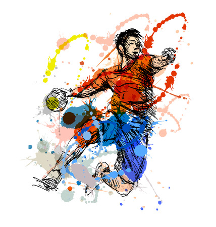 Colored hand sketch handball player. Vector illustration Stock Illustratie