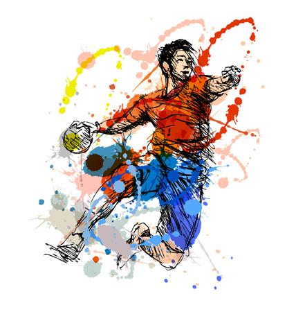 Gekleurde hand schets handbal speler. vector illustratie Stock Illustratie
