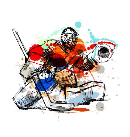 Kolorowe ręcznie Bramkarz hokejowy szkic. ilustracji wektorowych
