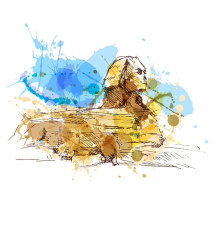 Colored hand sketch sphinx. Vector illustration
