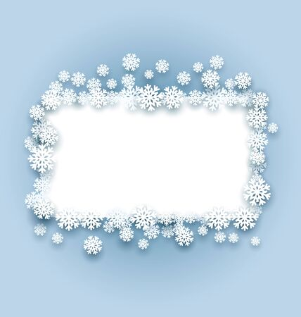 Vector illustration frame with snowflakes. Winter abstraction