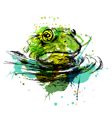 poison dart: Colored hand sketch of the head of the frog. Vector illustration