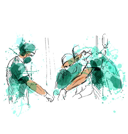 Colored hand sketch operating doctors. Vector illustration Stock Illustratie