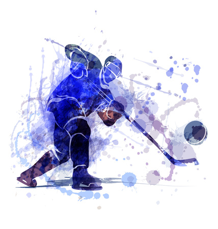 Vector illustration of a hockey player with puck