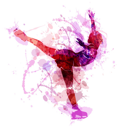 Gekleurde vector silhouet kunstschaatsers Stock Illustratie