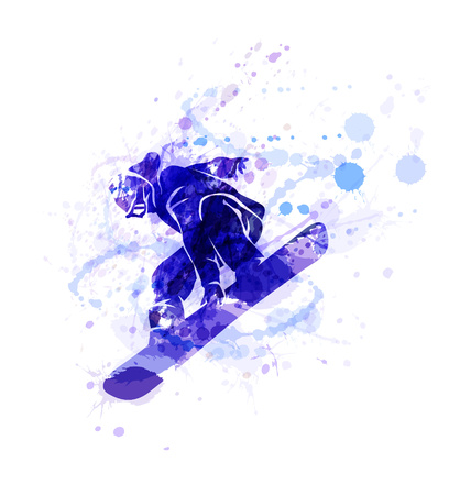 Colored vector silhouette snowboarder. Vector illustration Vettoriali