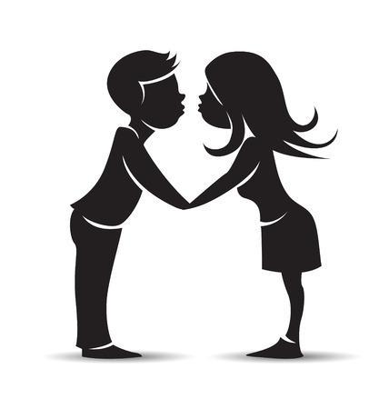 girls kissing: Cartoon silhouette kissing girls and a boy. Valentine motive