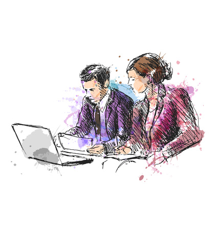 Colored hand sketch female and male workers. Vector illustration