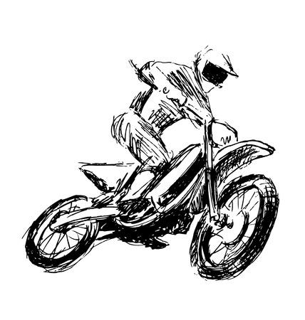 motorcross: Hand sketch motocross rider. Vector illustration
