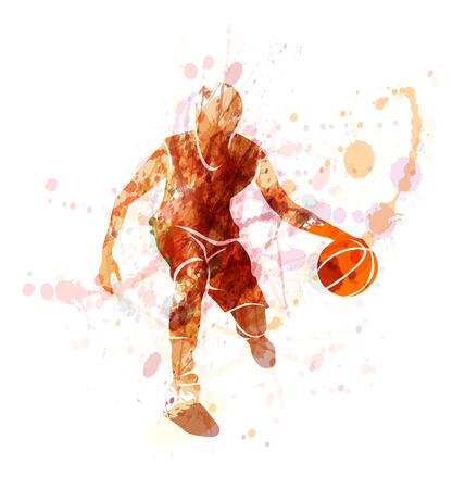 De color vector de la silueta del jugador de baloncesto con la bola