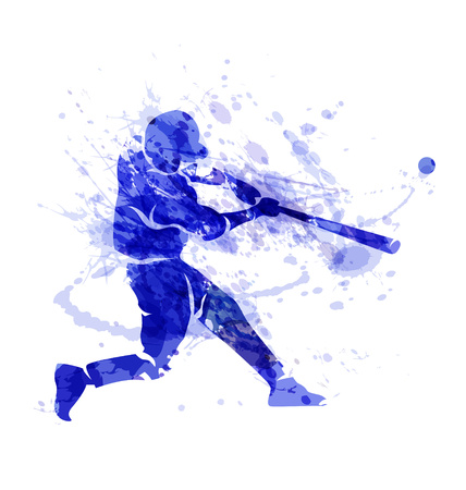 Colored vector silhouette of a baseball player Illustration
