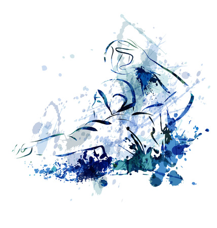 water: Watercolor vector illustration of a water polo player