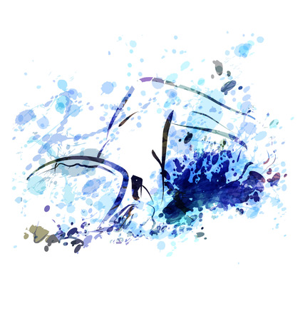 Vector aquarel illustratie van een zwemmer