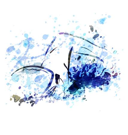 Vector watercolor illustration of a swimmer Banco de Imagens - 70970997