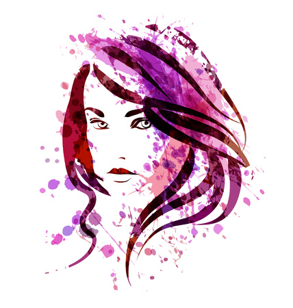 Vector watercolor sketch of a woman face