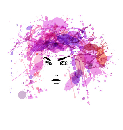 Vector watercolor illustration of a woman face