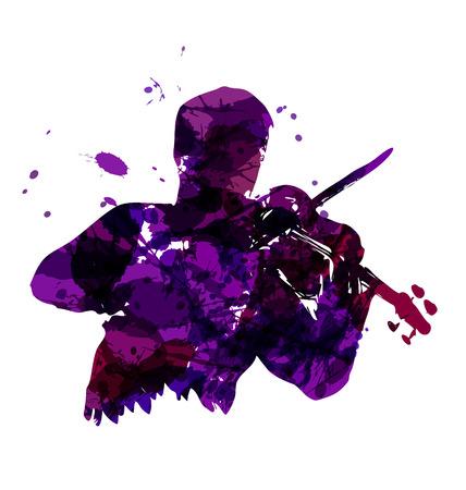 Vector illustratie van een violist Stock Illustratie