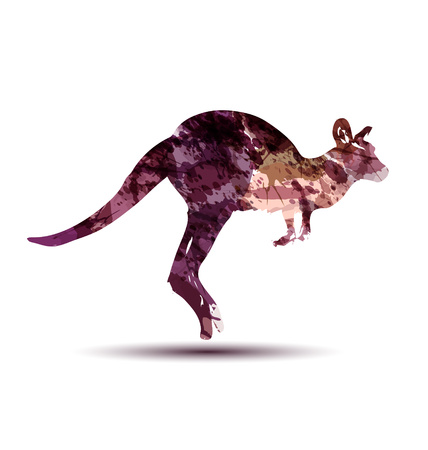 Vector watercolor silhouette of a kangaroo