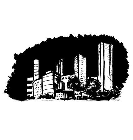 Hand sketch town on a black background. Vector illustration Illusztráció