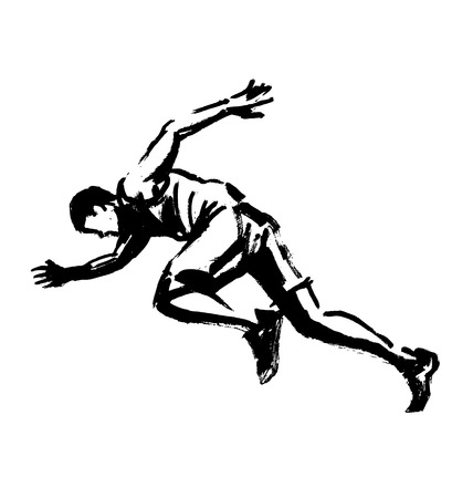 Hand drawing of a running man. Vector illustration