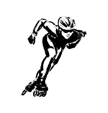 inline skating: Hand drawing inline skating. Vector illustration
