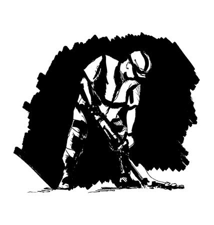Hand sketch worker on a black background. Vector illustration