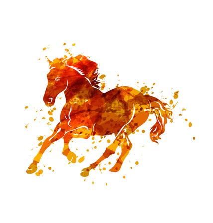 Vector illustration of  running horse Illustration