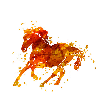 Vector illustration of  running horse Ilustrace
