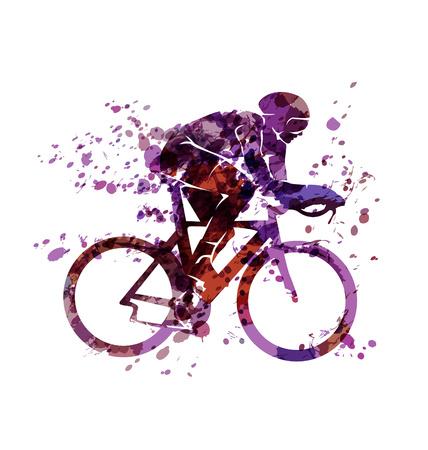 Aquarel silhouet van een fietser Stock Illustratie