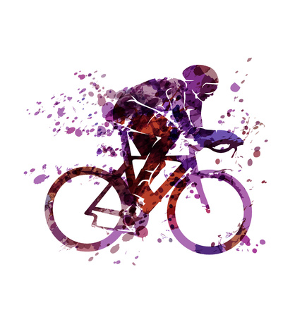 Watercolor silhouette of a cyclist Çizim