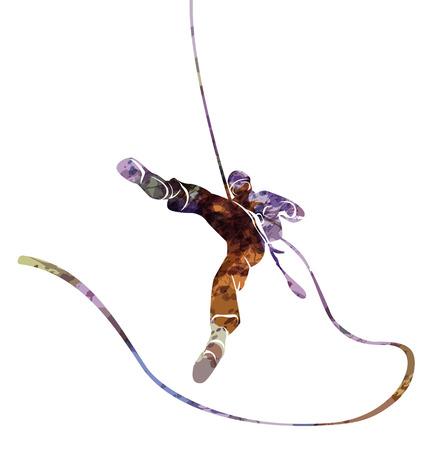 Acquerello sagoma di una corda doppia scalatore Archivio Fotografico - 73720935