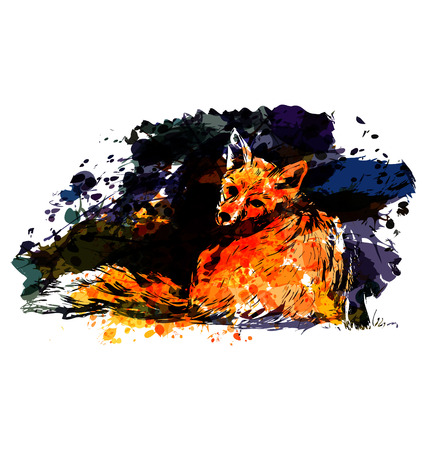 Colorful vector illustration fox