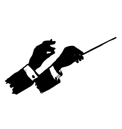 Vector silhouette of a hand conductor