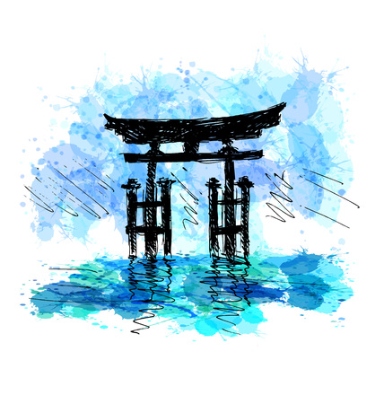 Colored hand drawing Japanese torii. Vector illustration Illustration