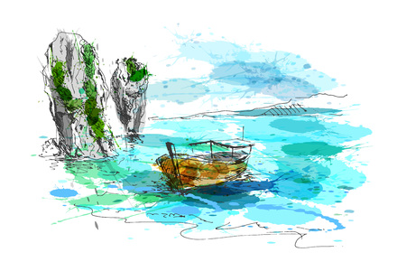 Colored hand drawing Thai coast. Vector illustration