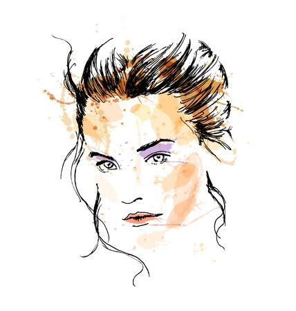 Colored hand sketch beautiful womans face. Vector illustration Vettoriali